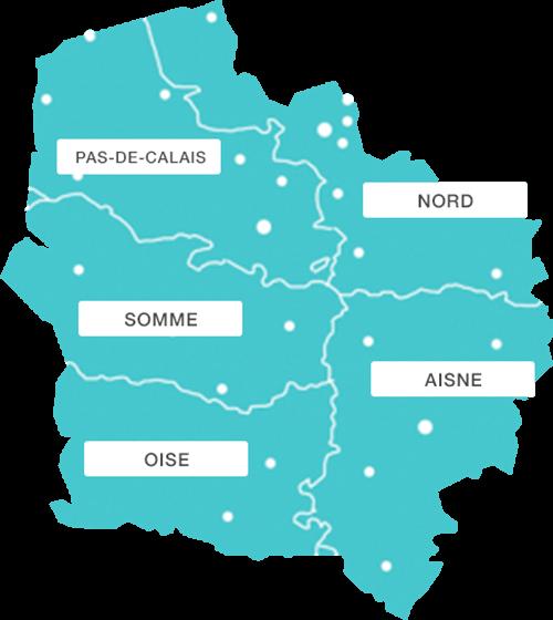 Carte Hauts de France avec départements